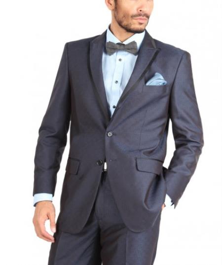 SKU#Q30R 2 Button Navy ~ Midnight blue Peak Lapel Geo Pattern Slim Suit or Tuxedo w/Black Trim $250