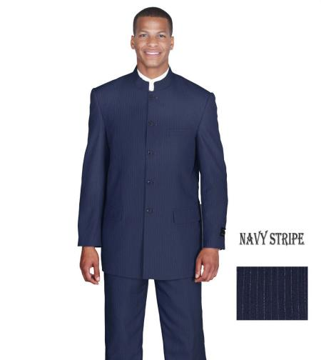 MensUSA.com Mens Suit Mandarin Collar Jacket Pants Set Navy Stripe Vintage Design(Exchange only policy) at Sears.com