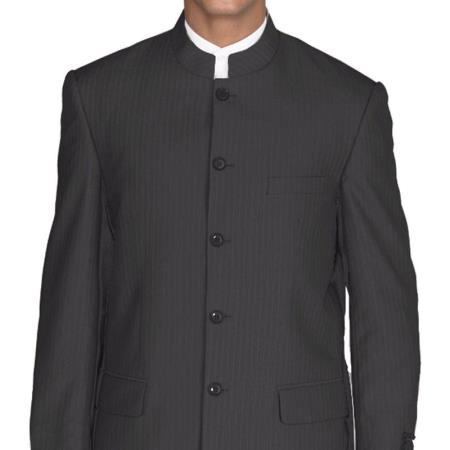 Mens Suit Mandarin Collar Black Pinstripe 5 Button Chinese