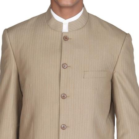 Sku Vp834 Mens Suit Mandarin Collar Tan Beige 5 Button Chi