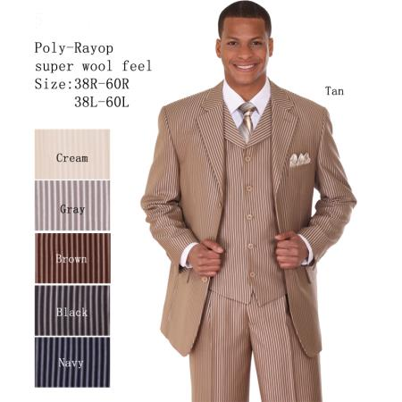 SKU#VT-59 Mens 3 Piece 33 Jacket with Double Vents Suit Bold Pencil Stripes Tan $149