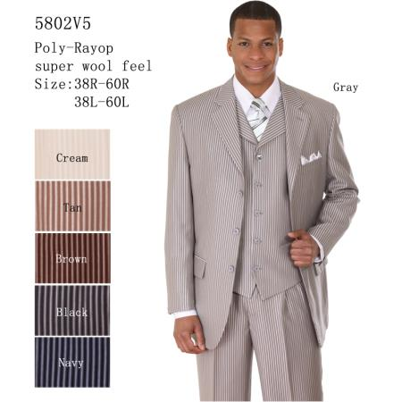 SKU#NY-29 Mens 3 Piece 33 Jacket with Double Vents Suit Bold Pencil Stripes Grey $125