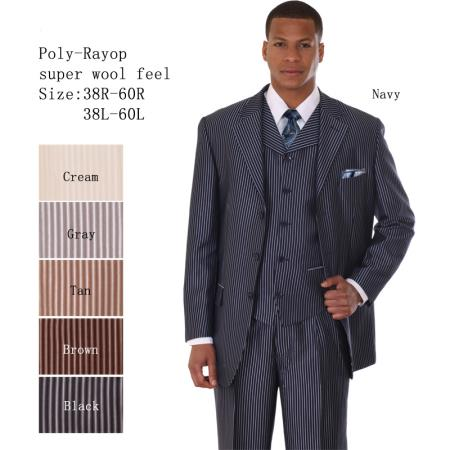 SKU#EF-38 Mens 3 Piece 33 Jacket with Double Vents Suit Bold Pencil Stripes Navy $149
