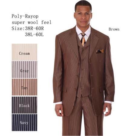 SKU#GR-28 Mens 3 Piece 33 Jacket with Double Vents Suit Bold Pencil Stripes Brown $149