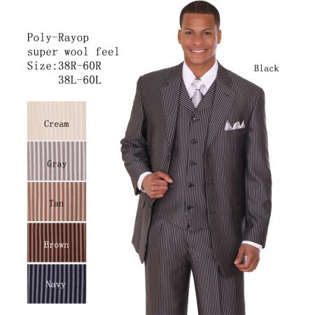 SKU#LT-30 Mens 3 Piece 33 Jacket with Double Vents Suit Bold Pencil Stripe ~ Pinstripe Black