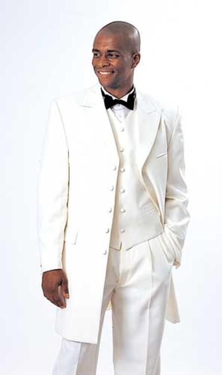 SKU#V529-Z 5 Button 3 Piece Vested Long Ivory~Cream~Off White Tuxedo Fashion Zoot Suit 38inch $199