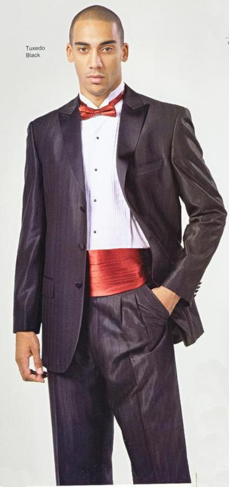 SKU#V-93 Jet Black Shadow Stripe Ton on Ton Stripe Patterned 3 Button Style Peak Lapel Jacket & Pleated Pants Tuxedo Suit $199