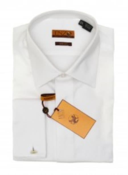 MensUSA.com White Laydown Collar Tuxedo Shirt with Fly Front - Trim Fit(Exchange only policy) at Sears.com