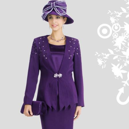 SKU#FT-29 New Lyndas Classic Elegance Purple Occasional Ladies 3 Piece Dress Set $139