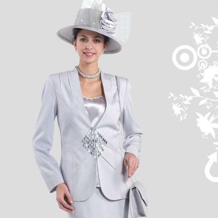 SKU#PZ-29 Lady Church Suits New Lyndas Elegance Classic Silver Women 3 Piece Church Dress Set
