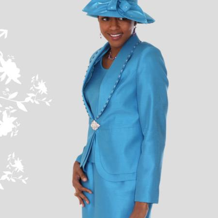 SKU#VN-83 New Lyndas Classic Church 3 Piece Dress Set turquoise ~ Light Blue Colored $139