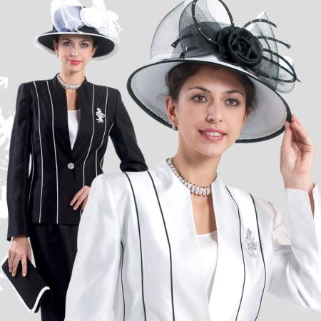 SKU#NF-37 New Lyndas Formal Classic Stripe ~ Pinstripe Black / White Women 3 Piece Dress Set