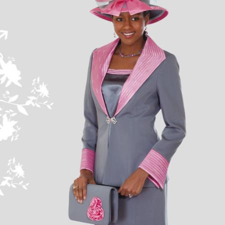 SKU#KN-28 Lady Church Suits New Lyndas Classic Elegance Church 3 Piece Dress Set Pink