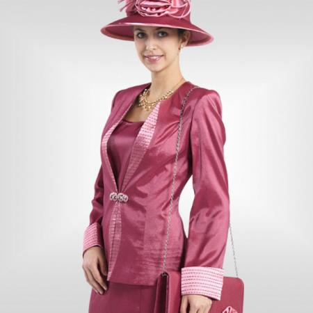 SKU#GY-38 Lady Church Suits New Lyndas Classic Elegance Rose Women Church 3 Piece Dress Set