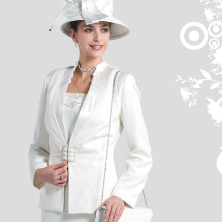 SKU#FT-27 New Lyndas Classic Elegance White Women 3 Piece Dress Set