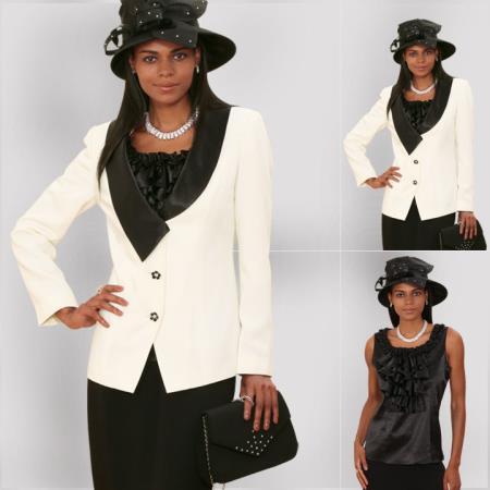 SKU#XR-29 New Lyndas Classic Elegance Ivory/Black Women 3 Piece Dress Set