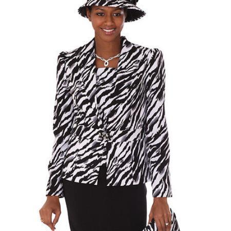 SKU#DL-85 Lady Church Suits New Lyndas Classic Zebra Design Church 3 Piece Dress Set
