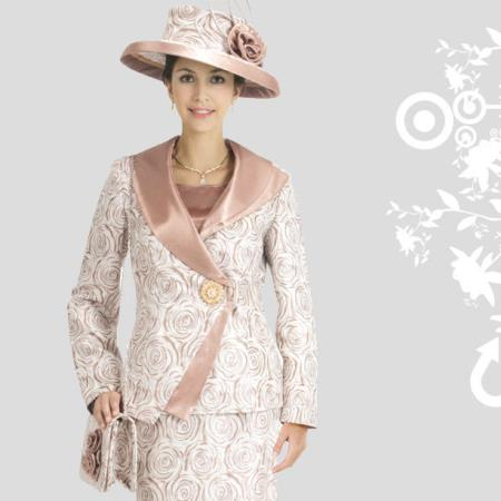 SKU#VA-63 New Lyndas Classic Flower Swirl Print Design Ladies 3 Piece Dress Set $115