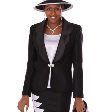 SKU#PA-18 Lady Church Suits New Lyndas Classic Black Church 3 Piece Dress Set