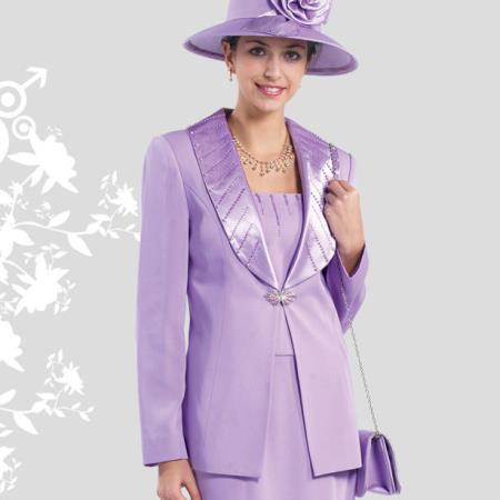 SKU#GN-47 Lady Church Suits New Lyndas Classic Elegance Rose Women Church 3 Piece Dress Set