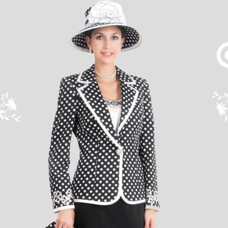 SKU#VQ-31 New Lyndas Classic Elegance Black & White Polka Dot Women 3 Piece Dress Set