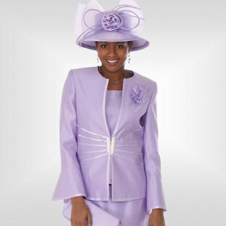 SKU#CH-24 Lady Church Suits New Lyndas Classic Elegance Church 3 Piece Dress Set Lavender