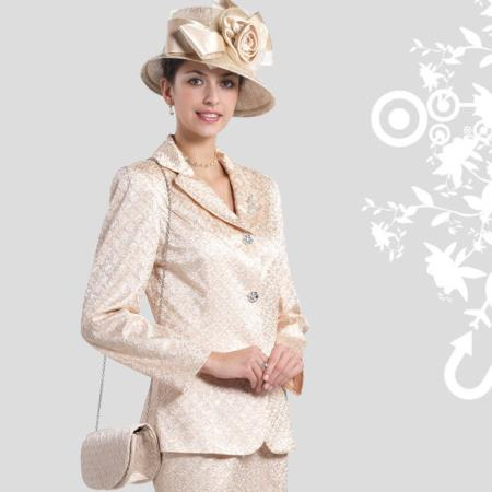 SKU#XP-27 New Lyndas Special Occasion Elegance Champagne 2 Piece Ladies Dress Set