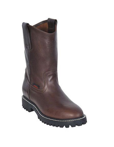 MensUSA.com Mens Work BOOTS Brown Round Toe Leather Grasso Los Altos Safety Shoes Harness(Exchange only policy) at Sears.com