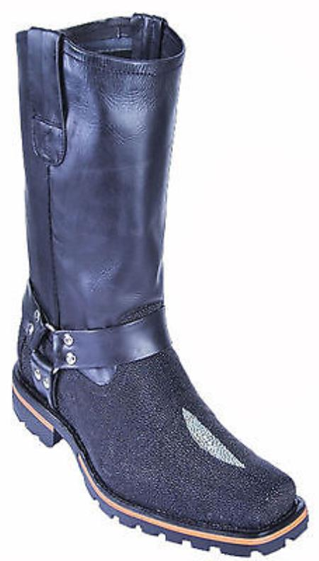 MensUSA.com Stingray Black Los Altos Men's Motorcycle Boots Biker Lug Sole Riding(Exchange only policy) at Sears.com