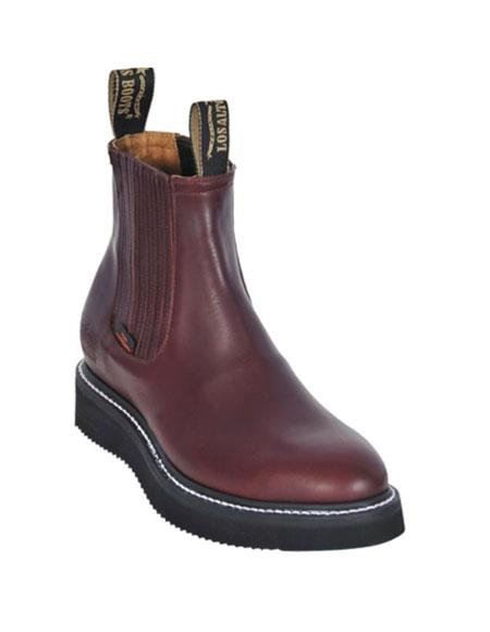 MensUSA.com Mens Work BOOTS Burgundy Round Toe Leather Grasso Los Altos Safety Shoes Harness(Exchange only policy) at Sears.com