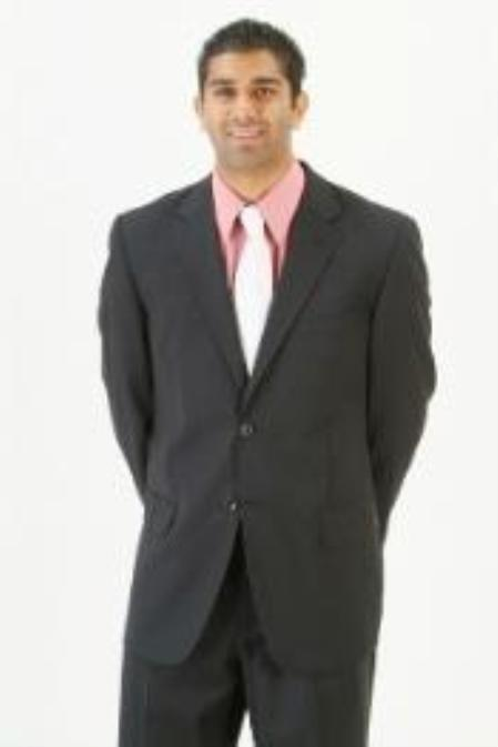SKU# DIO583 Mens Single Breasted 2 Button Dark Black Super Wool Hand Discounted Salenon back vent coat style coat On $199