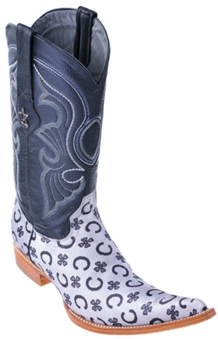 MensUSA.com Fashion Design Leather Black Silver Los Altos Mens Western Boots Cowboy 6x Toe(Exchange only policy) at Sears.com