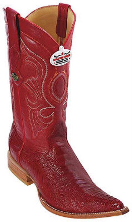 MensUSA Ostrich Leg Leather Red Los Altos Men's Western Boots Cowboy Style Rider 3x Toe at Sears.com