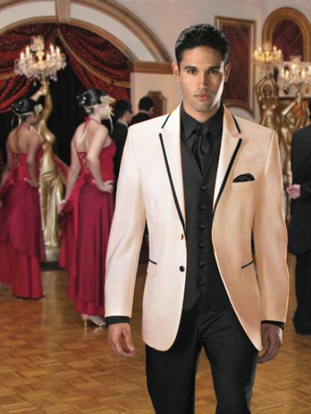 SKU#GQ-29 Two Button Colored Tuxedo or Formal Suit & Blazer with Black Edge Trim Ivory $595