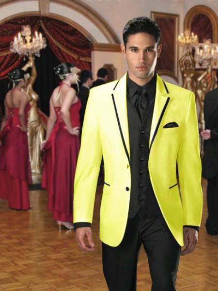 SKU#PT-28 Two Button Colored Tuxedo or Formal Suit & Blazer with Black Edge Trim Yellow $595