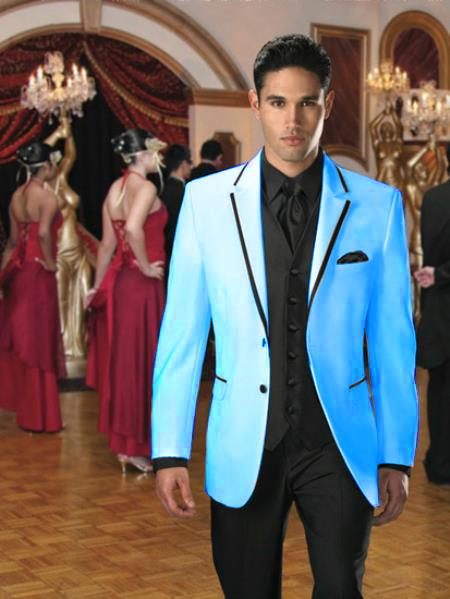 SKU#EG-16 Two Button Stage Party Tuxedo or Formal Suit & Blazer with Black Edge Trim Light Blue ~ Sky Blue 7 days delivery