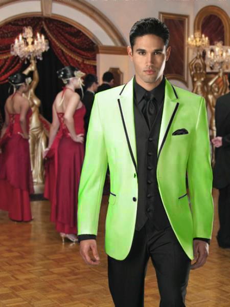 SKU#FT-65 Two Button Colored Tuxedo Velvet Velour Sport Coat & Blazer with Black Edge Trim Apple Green $595