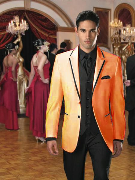 SKU#NR-40 Two Button Stage Party Tuxedo Velvet Velour Sport Coat & Blazer with Black Edge Trim Orange $450