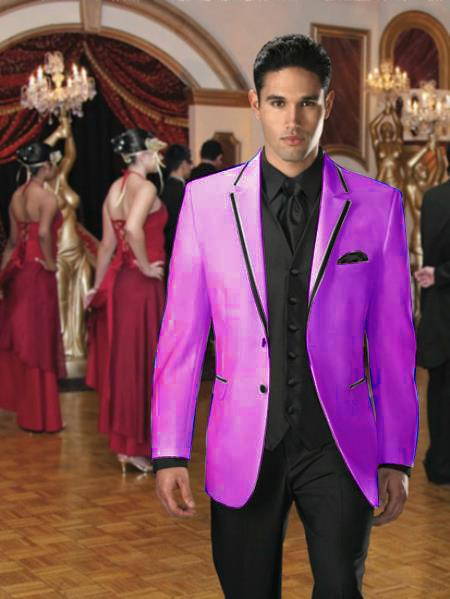 SKU#CP-47 Two Button Colored Tuxedo or Formal Suit & Blazer with Black Edge Trim Purple $595