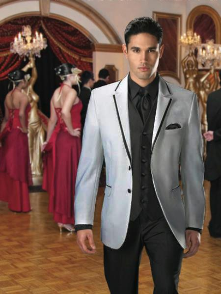 SKU#FP-46 Two Button Colored Tuxedo Velvet Velour Sport Coat & Blazer with Black Edge Trim Light Grey $299