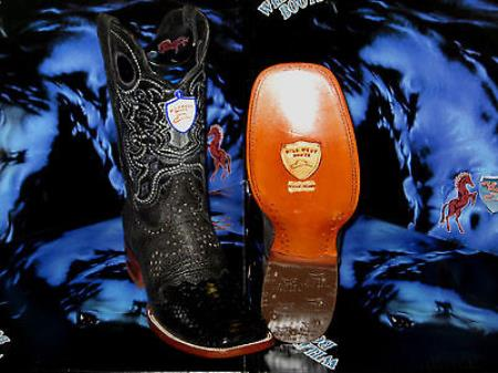 MensUSA.com Wild West Genuine Python Snake Square Black Rodeo Western Cowboy Boot(Exchange only policy) at Sears.com