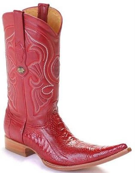 MensUSA.com Ostrich Leg Leather Red Los Altos Men's Western Boots Cowboy Style Rider 6x Toe(Exchange only policy) at Sears.com