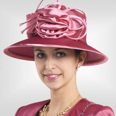 SKU#HA-01 New Lyndas Rose Kentucky Derby Hat Brim Womens Church Hat