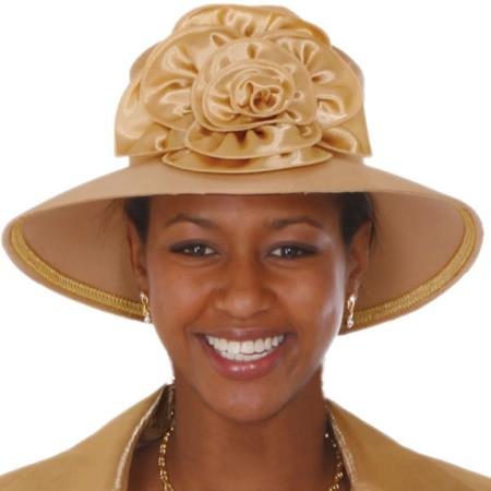 SKU#HA-02 New Lyndas Women Gold Kentucky Derby Hat Brim Church Bridal Shower Hat $115