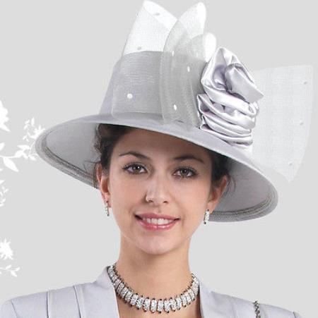 SKU#HA-03 New Lyndas Women Silver Kentucky Derby Hat Brim Church Bridal Shower Hat
