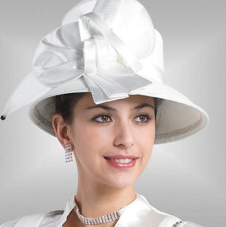 SKU#HA-04 New Lyndas Classic White Ladies Kentucky Derby Hat Brim Church Hat $65