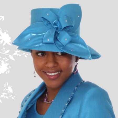 SKU#HA-05 New Lyndas Women Unique turquoise ~ Light Blue Stage Party Kentucky Derby Hat Brim Church Hat $65