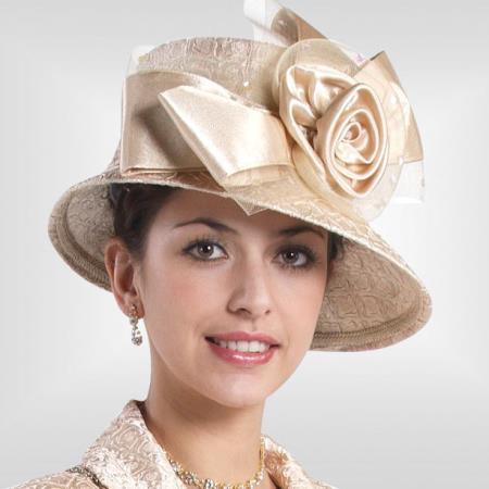 SKU#HA-06 New Lyndas Women Champagne Kentucky Derby Hat Brim Church Hat $65