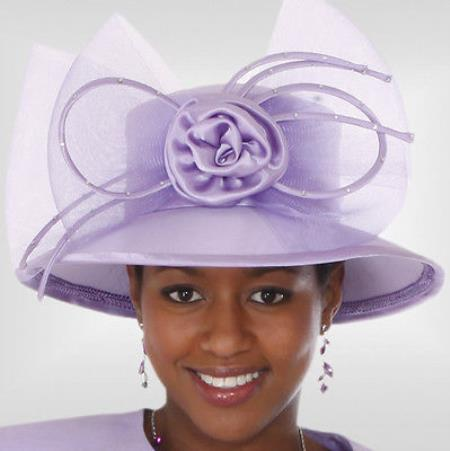 SKU#HA-09 New Lyndas Women Lavender Kentucky Derby Hat Brim Church Hat $65