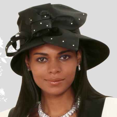 SKU#HA-14 New Lyndas Women Black Kentucky Derby Hat Brim Church Hat $65